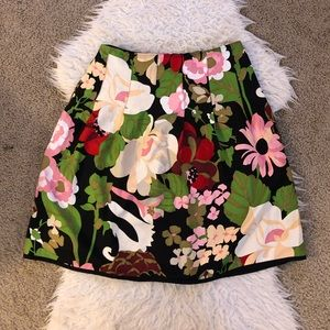 Talbots pure silk black floral a-line skirt